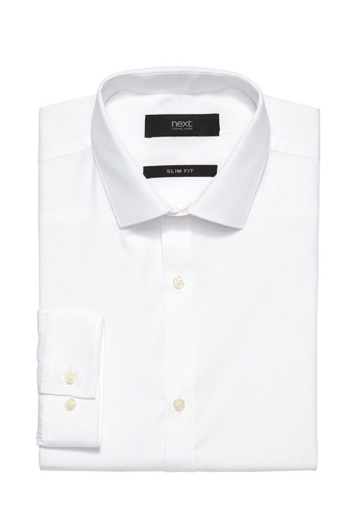 Next Plain White Long Sleeve Shirt