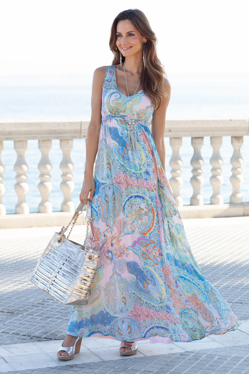 European Collection Printed Maxi Dress