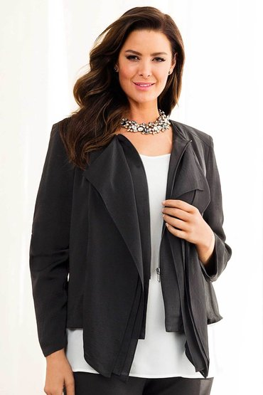 Plus Size - Grace Hill Woman Drape Front Jacket