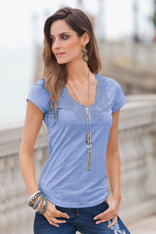 European Collection Lace Trim T-shirt