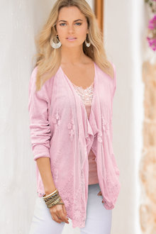 European Collection Lace Front Cardigan