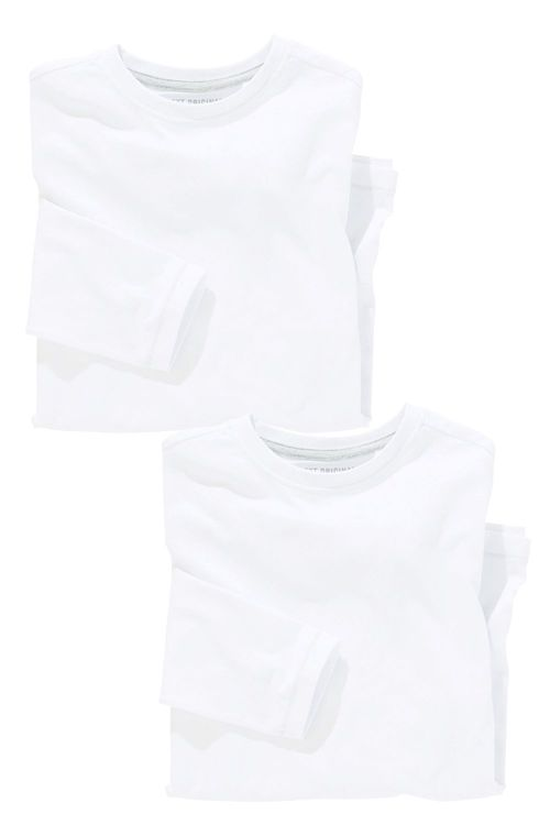 Next White Long Sleeve T-shirts Two Pack (3-16yrs)