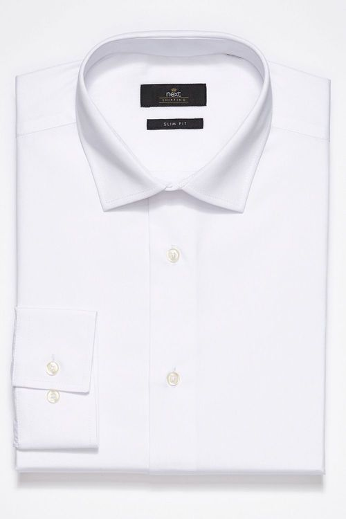 Next Plain White Single Cuff Shirt - Skinny Fit