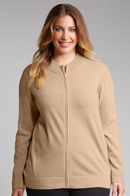 Plus Size - Sara Lambswool Zip Front Cardigan