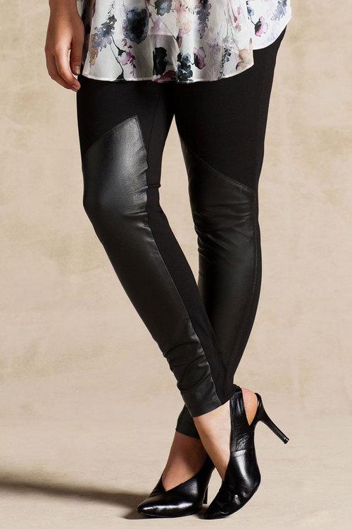 Plus Size - Grace Hill Leather Trim Leggings