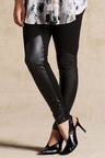 Plus Size - Grace Hill Leather Trim Leggings
