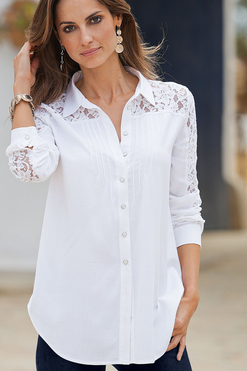 Plus Size - Together Woman Lace Sleeve Shirt