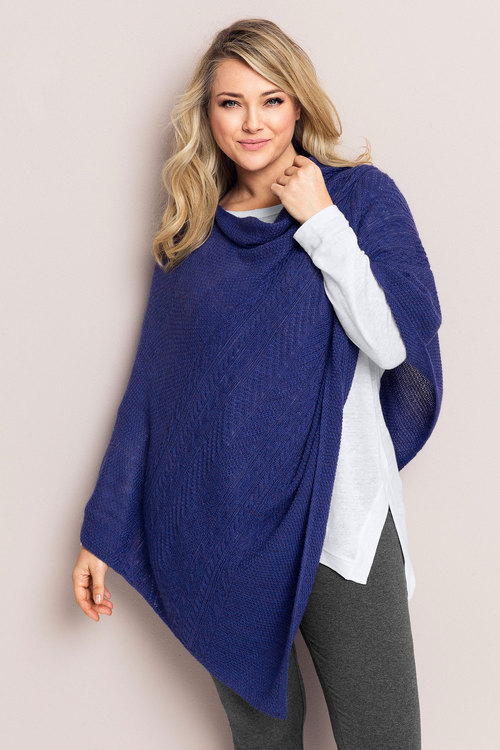 Plus Size - Sara Cable Poncho