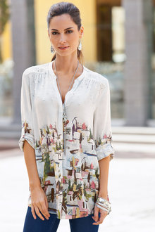 European Collection Scattered Sequin Printed Shirt - 133693