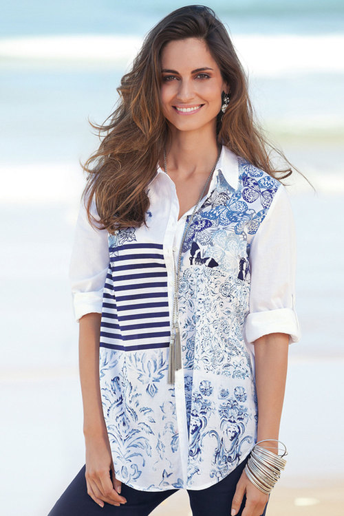 European Collection Patchwork Print Shirt