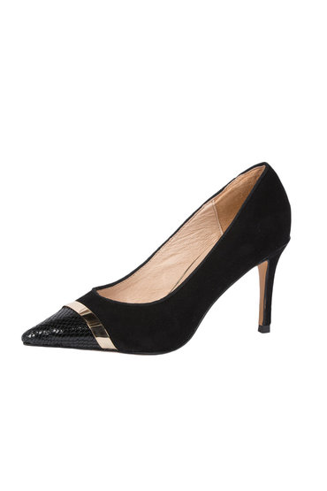 Jane Debster Toe Cap Point Pump with Metal Trim - Urban