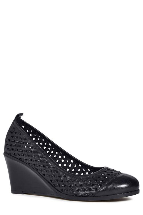 Next Woven Leather Midi Wedges