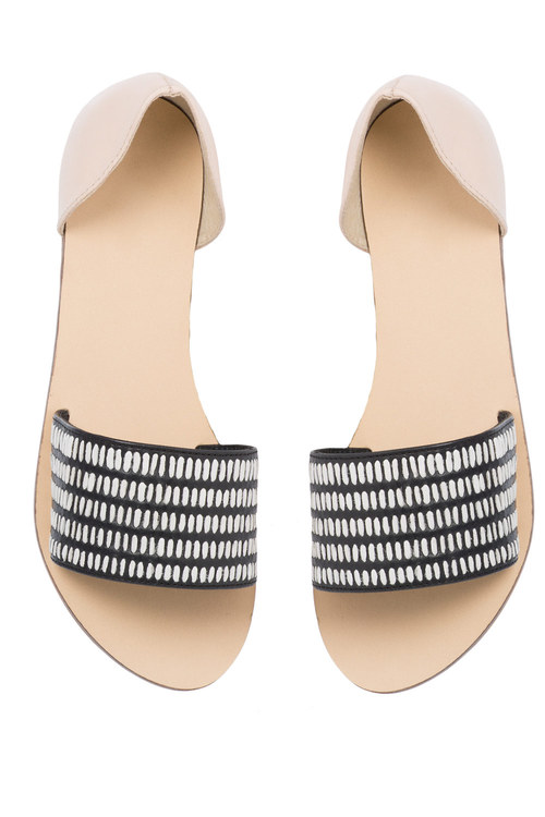 Plus Size - Leather Wide Two Part Open Toe