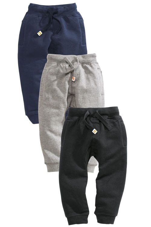 Next Three Pack Navy Grey And Black Joggers (3mths-6yrs)