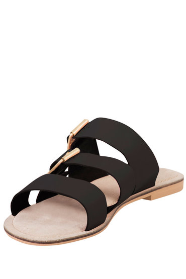 Plus Size - Wide Fit Triple Strap Buckle Flat Sandal