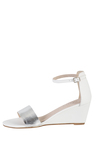 Plus Size - Wide Fit Leather Low Wedge Sandal