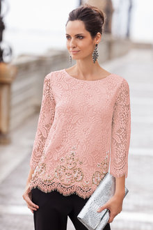 Together Lace and Beaded Top