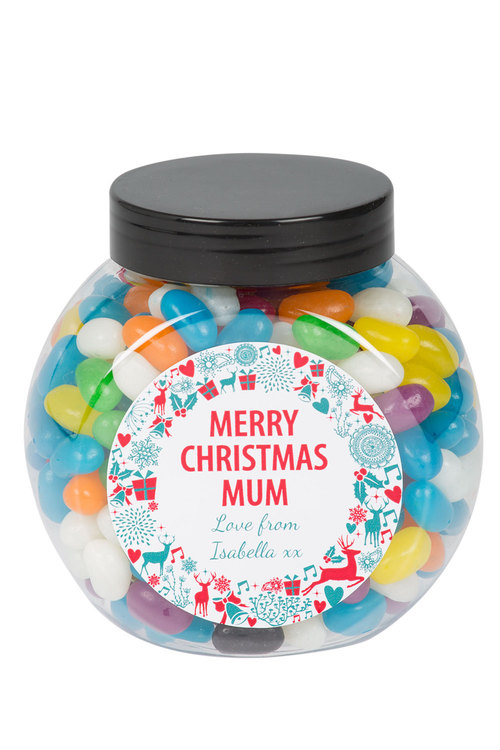 Personalised Lolly Jar - Xmas Wreath