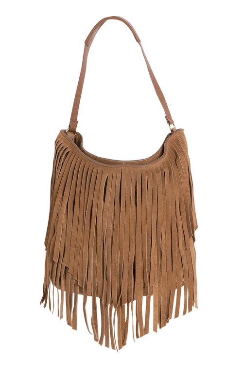 Next Tan Suede Fringe Bucket Bag