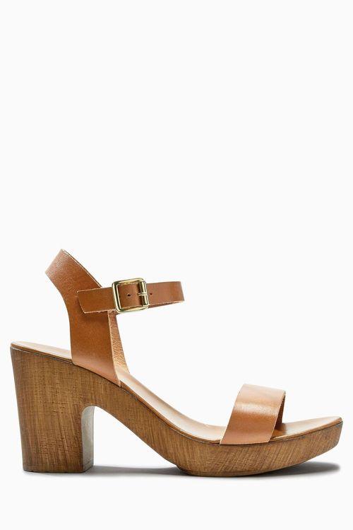 ee5b1eb91e9b Next Tan Leather Wooden Platform Sandals Online