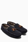 Next Navy Luxury Suede Tassel Moccasin