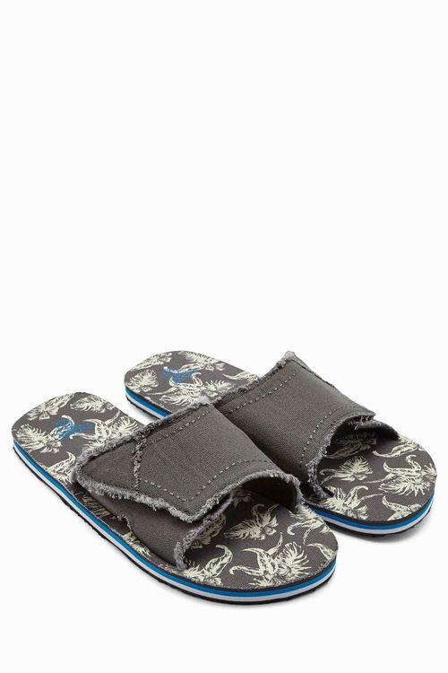 Next Grey Canvas Printed Mule