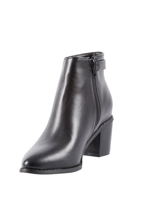 Capture Buckle Block Heel Ankle Boot