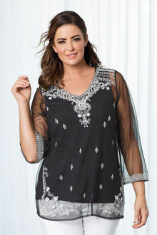 Sara Embroidered Mesh Top