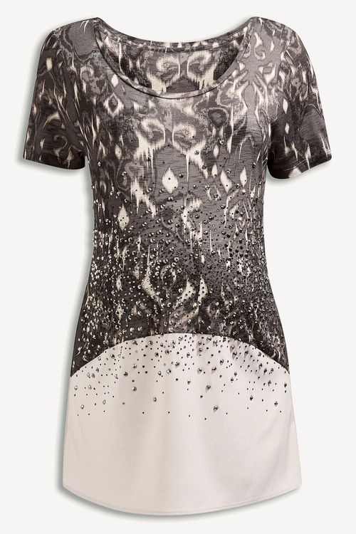 Next Grey Embellished Print Top (Maternity)