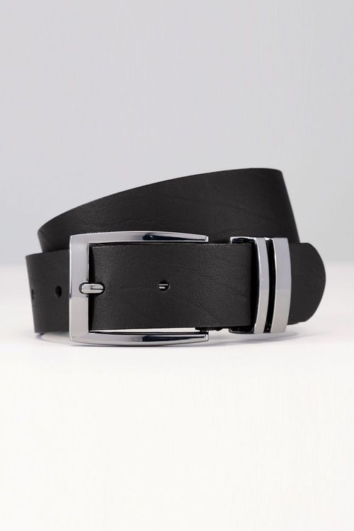 Next Black Leather Gunmetal Keeper Belt