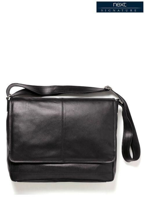 Next Signature Black Leather Messenger Bag