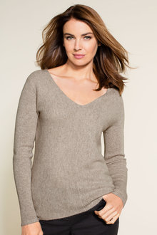 Grace Hill Cashmere Blend Rib Front V Neck Sweater