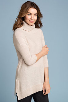 Grace Hill Cashmere Blend Roll Neck Tunic