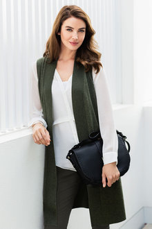Grace Hill Cashmere Blend Sleeveless Cardigan