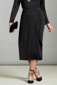 Plus Size - Sara Knit Mock Wrap Skirt