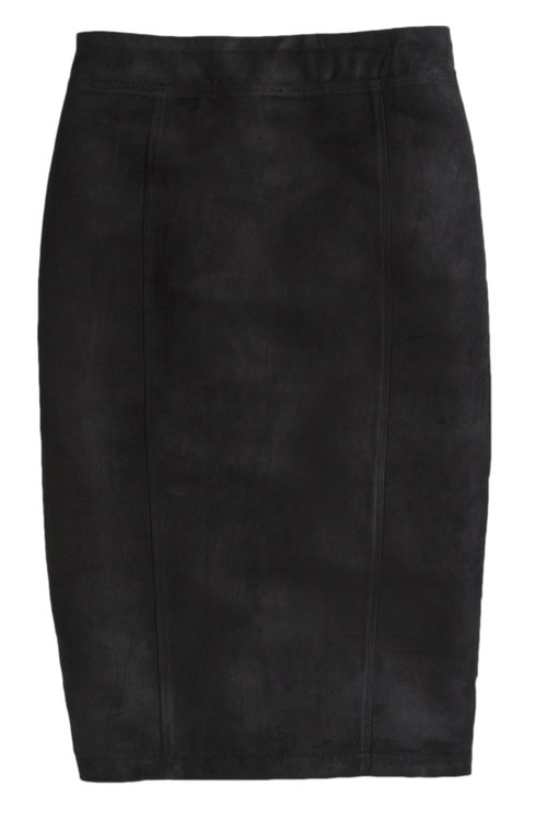 Plus Size - Sara Faux Suede Front Skirt