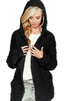 Capture Fluffy Hooded Cardi