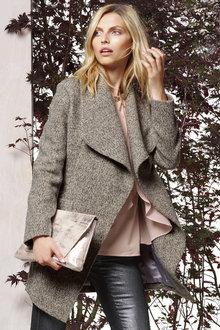 Next Grey Tweed Waterfall Coat Online | Shop EziBuy