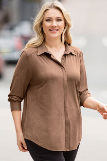 Plus Size - Sara Faux Suede Shirt