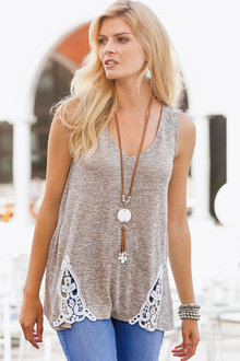 Together Lace Detail Knit Tank