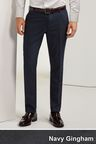 Next Navy Skinny Fit Plain Front Trousers