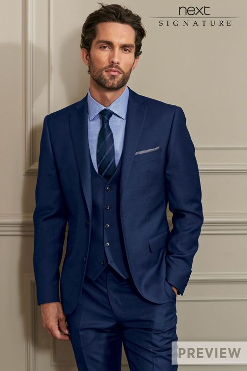 Next Blue Signature Slim Fit Suit Trousers