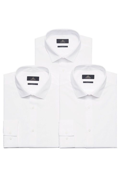 Next White Plain Shirts Three Pack