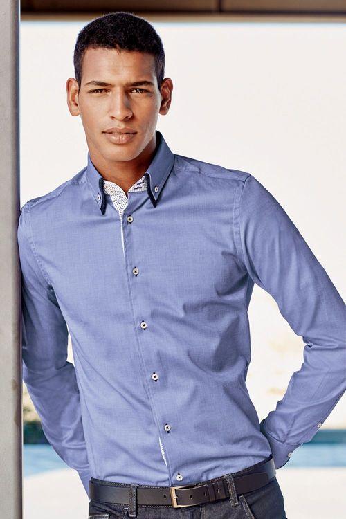 Next Blue Double Collar Shirt