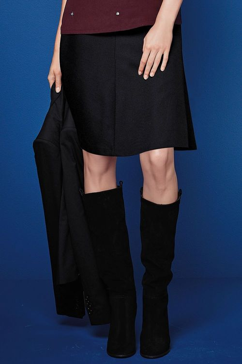 Next Black Textured Fluted Skirt