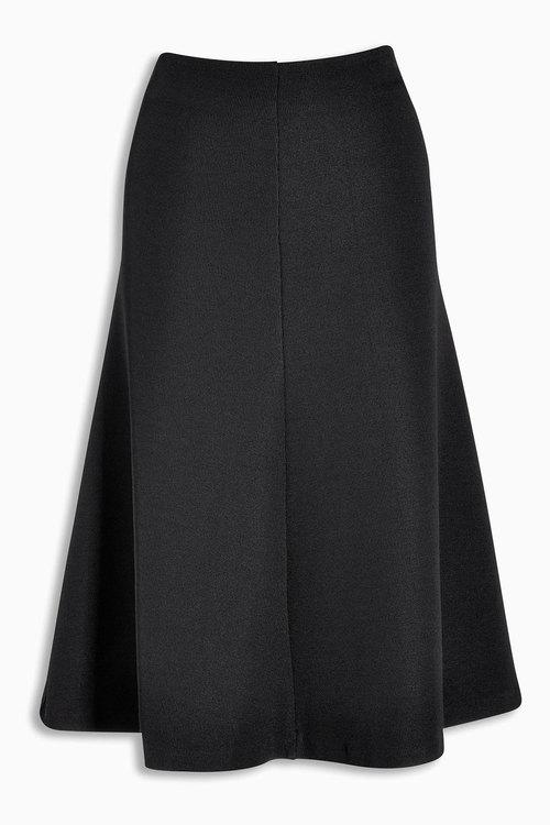 Next Black Textured Fluted Skirt