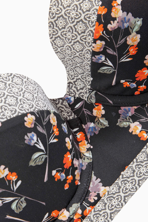 Next Black Grnd Floral Bralet Bikini Top