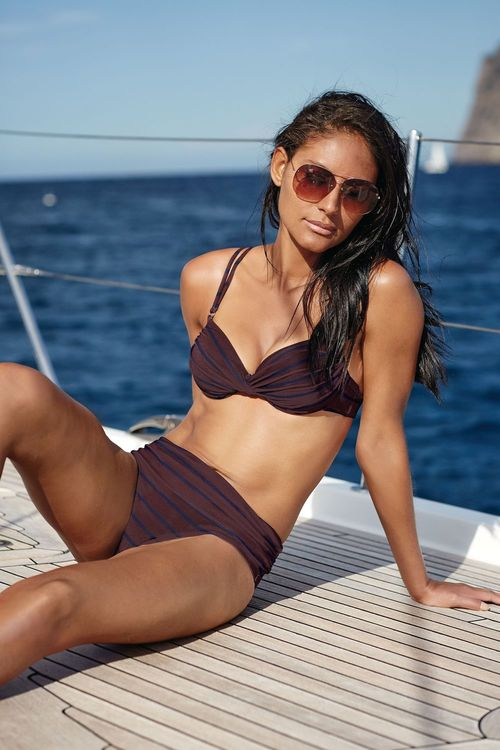 Next Brown/Navy Stripe Textured Shape Enhancing Bikini Top