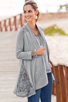 Plus Size - Together Woman Lace Cardigan
