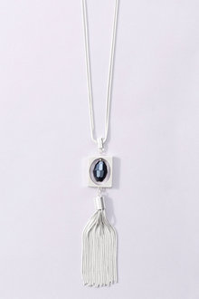 Next Silver Coloured Square Tassel Necklace